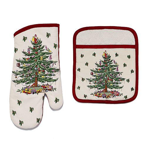 Spode Christmas Tree.Spode Christmas Tree Oven Mitt Pot Holder Set