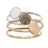 LC Lauren Conrad Pave Disc Ring Set