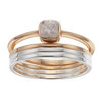 LC Lauren Conrad Square Stone Ring Set