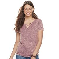 Juniors' Mudd® Mineral Wash Lace-Up Tee