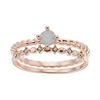 LC Lauren Conrad Twisted Solitaire Ring Set