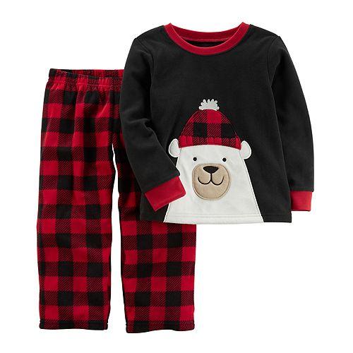 Boys 4-8 Carter's Buffalo Check Polar Bear 2-Piece Pajama Set
