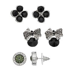 Rhodium Silvertone Stud Earrings Set