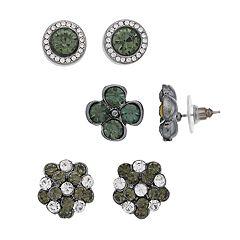 Silvertone Gem Stud Earrings Set