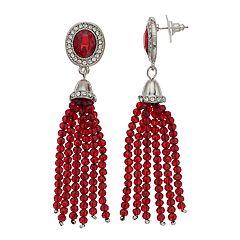 Silvertone Beaded Tassel Stud Earrings