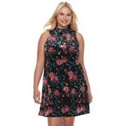 Juniors' Plus Size Mudd® Floral Velvet Swing Dress