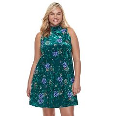 Juniors' Plus Size Mudd® Floral Velvet Swing Dress