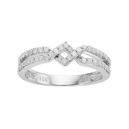 10k White Gold 1/3 Carat T.W. Diamond Zig Zag Ring