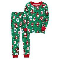 Boys 4-12 0 Santa & Snowman 2-Piece Pajamas