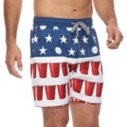 Men's Trinity Collective Blackout Slim-Fit Elastic Americana Swim Shorts