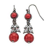 Red Simulated Pearl Nickel Free Linear Earrings