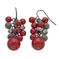 Red Beaded Cluster Nickel Free Drop Earrings