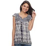 Women's Apt. 9® Lace Yoke Tie-Dye Top