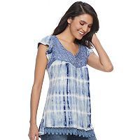 Women's Apt. 9® Lace Yoke Tie-Dye Top