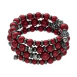Red Simulated Pearl Coil Bracelet