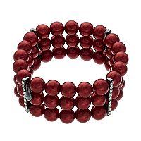 Red Simulated Pearl Multi Strand Stretch Bracelet
