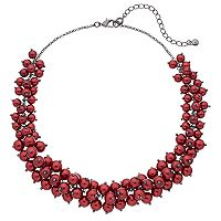 Red Simulated Pearl Chunky Necklace