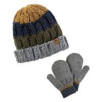 Toddler Boy Carter's Colorblocked Cable Knit Beanie & Mittens Set