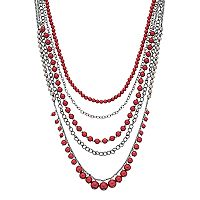 Red Simulated Pearl Layered Necklace