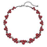 Red Simulated Pearl Twisted Necklace