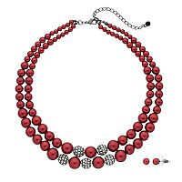 Red Simulated Pearl Double Strand Necklace & Stud Earring Set