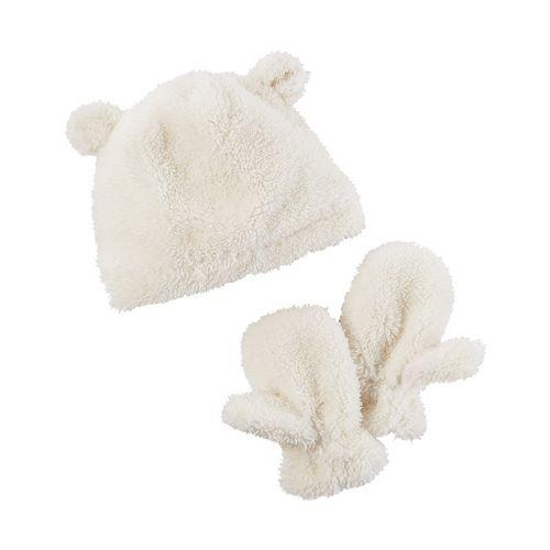 Toddler Girl Carter's Plush Velboa 3D Ears Beanie & Mittens Set
