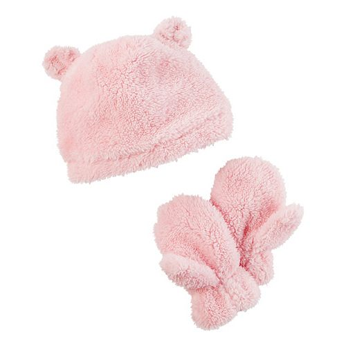 Toddler Girl Carter's Plush Velboa 3D Ears Beanie & Mittens Set