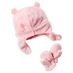Baby Girl Carter's Plush Velboa 3D Ears Trapper Hat & Mittens Set
