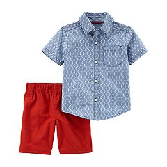 Toddler Boy Carter's Chambray Button Down Shirt & Shorts Set