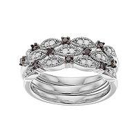 Sterling Silver 1/3 Carat T.W. Black & White Diamond Stack Ring Set