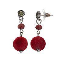 Red Plush Drop Earrings