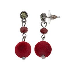 Red Plush Drop Earrings