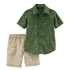 Baby Boy Carter's Woven Patterned Button Down Shirt & Shorts Set