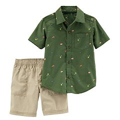 Toddler Boy Carter's Woven Patterned Button Down Shirt & Shorts Set