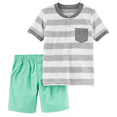Toddler Boy Carter's Striped Henley Top & Shorts Set