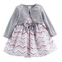 Baby Girl Youngland Glittery Chevron Dress & Velvet Shrug Set