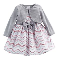Baby Girl Youngland Glittery Chevron Dress & Velvet Shrug Set