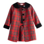 Toddler Girl Youngland Plaid Coat & Dress Set
