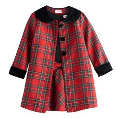 Toddler Girl Youngland Plaid Coat & Dress Set