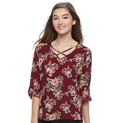 Juniors' Pink Republic Print Cross Front Top