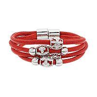 Beaded Multi Row Cord Magnetic Bracelet