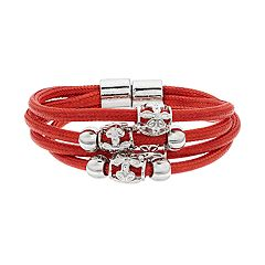 Beaded Multi Row Cord Magnetic Bracelet