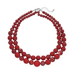 Red Bead Double Strand Necklace