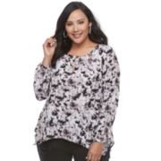 Plus Size Jennifer Lopez Printed Cutout Top
