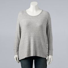 Plus Size Simply Vera Vera Wang Lace-Up Cozy Top