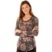 Juniors' Wallflower Print Burnout Tee