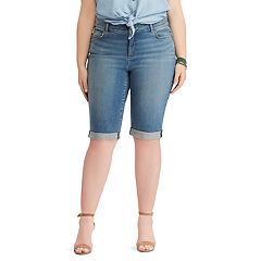 Plus Size Chaps Cuffed Denim Skimmer Shorts
