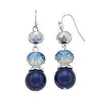 Blue Beaded Nickel Free Linear Earrings