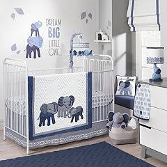 Lambs & Ivy 3-pc. Indigo Elephants Crib Bedding Set
