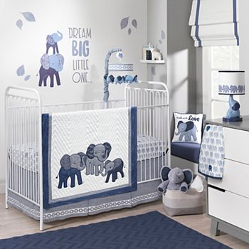 Lambs Amp Ivy 3 Pc Indigo Elephants Crib Bedding Set